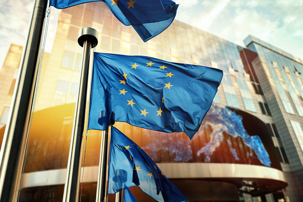 European Authorized Representation for Manufacturers of Medical Devices mdi Europa - EU flags in front of EU parliament